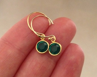 Emerald Earrings in Gold -Gold Emerald Earrings -May Brithstone Earrings