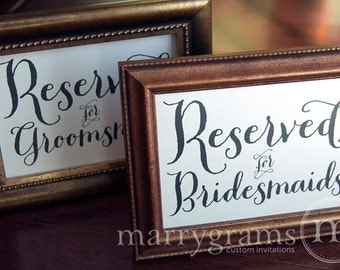 Reserved for Bridesmaids & Groomsmen Wedding Sign Table Card - Reception Ceremony Seating Signage - Table Numbers Avail SS02 (Set of 2)