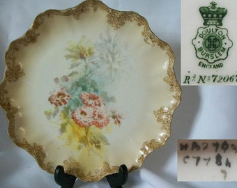 1887 Antique DOULTON BURSTEN Collectible Shelf Plate/Free Shipping