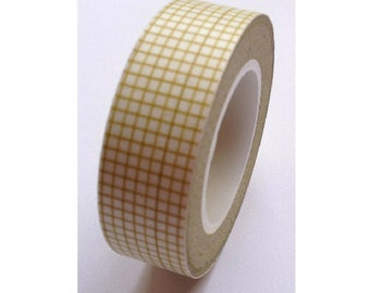Japanese Washi Masking Tape - Light Brown Grid - 16 yards