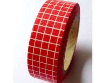Japanese Washi Masking Tape - White Grid with Red - 11 yards