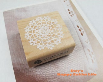 Wooden Rubber Stamp - White Lace 05 - 1 pcs