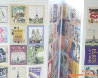 Paper Deco Sticker Set - France - Stamp Shape - 4 Sheets in different designs