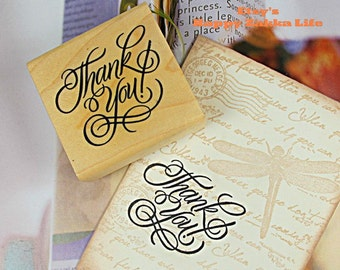 """Wooden Rubber Stamp - Thank you  - 5cm x 5cm (2"""" x 2"""")"""