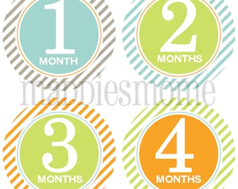 Monthly Baby Boy Stickers Baby Month Stickers, Monthly Bodysuit Sticker, Monthly Stickers Blue Green Orange (Kayden)