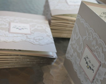 Lace Wedding Invitation Suite- The vintage lace on Sand/ blush