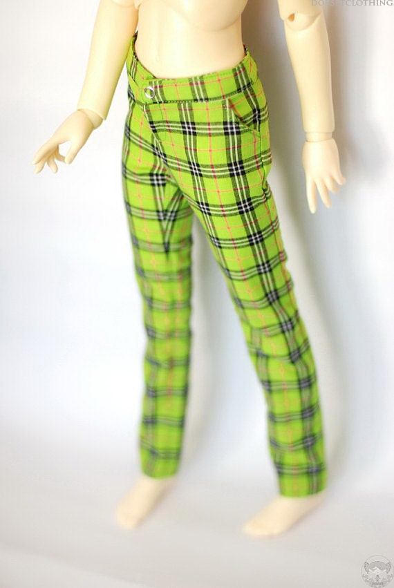 SD13 Girl Lime Plaid Pants For BJD Dollfie - Last Pair
