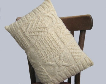 """Cable Off white Wool Pillow, Knitted Lumbar Classic Pillow Case, Organic Wool Rustic Cushion 12 """"x 18"""", Indoor Outdoor Farmhouse Home Decor"""