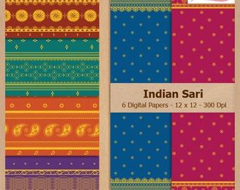 Digital Scrapbook Paper Pack - INDIAN SARI PATTERNS - Instant Download