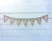 Merci burlap banner with light pink hearts