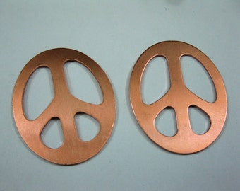 Copper PEACE SIGN 24 gauge 1 1/4 Inch OD, set of 2, Ready to Ship!