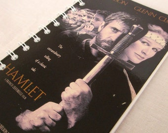 Upcycled Notebook/Recycled Notebook from a Hamlet VHS box, 50 sheets/100 pages