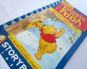 Upcycled Notebook/Recycled Notebook from a Winnie the Pooh and the Honey Tree VHS box, 50 sheets/100 pages