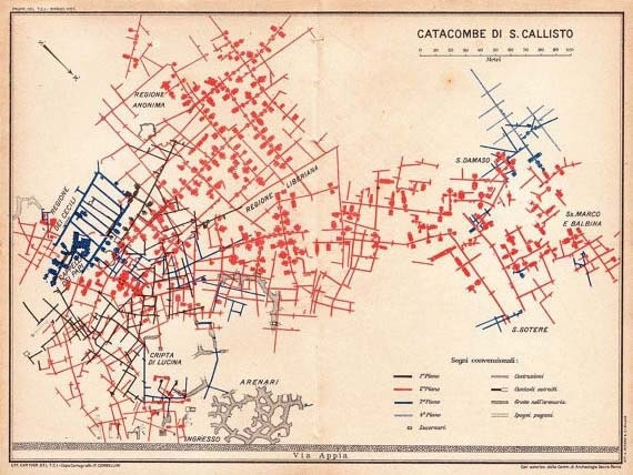Rome Catacombs Plan San Callisto 1933