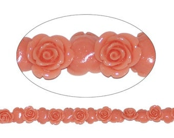 6 pcs per pack 17mm 9.25mm thickness Peachy Rose Beads drilled side to side in lead free Resin