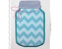 Applique Mason Fruit Jar Machine Embroidery Design - 3 Sizes