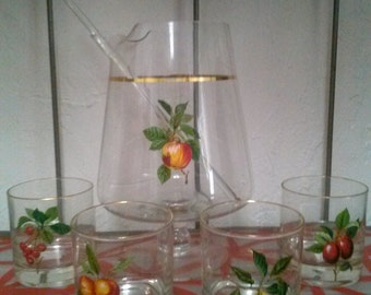 Vintage West Virginia Glass Fruit Pattern Martini Set, Glassware, Barware