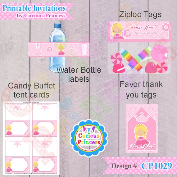 Princess Aurora inspired invitation PRINTABLE digital files package with labels wraps toppers n banner
