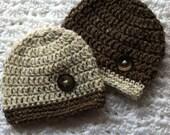 Crochet Twins Baby Beanies in Brown and Tan, Crochet Baby Hat, Newborn Hat, Winter Hat, Twin Baby Boy Hats, Little Boy Hat