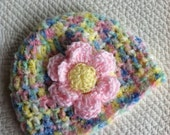 Spring Multicolor Crochet Baby Hat, Soft Pink Flower, Crochet Baby Hat, Baby Hat, Spring Green and Pink Hat, Hat with Flower, Baby Girl Hat
