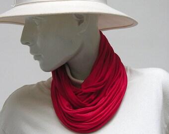 Loop Tube Silk Jersey handdyed red