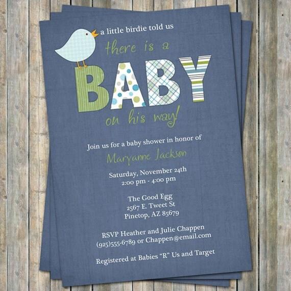 baby boy shower invitation with bird, blue background, digital, printable file