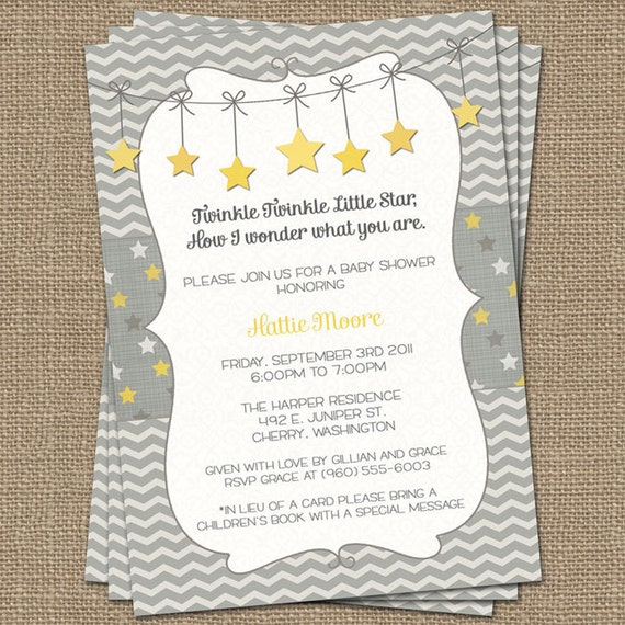 twinkle twinkle little star baby shower invite yellow and gray how