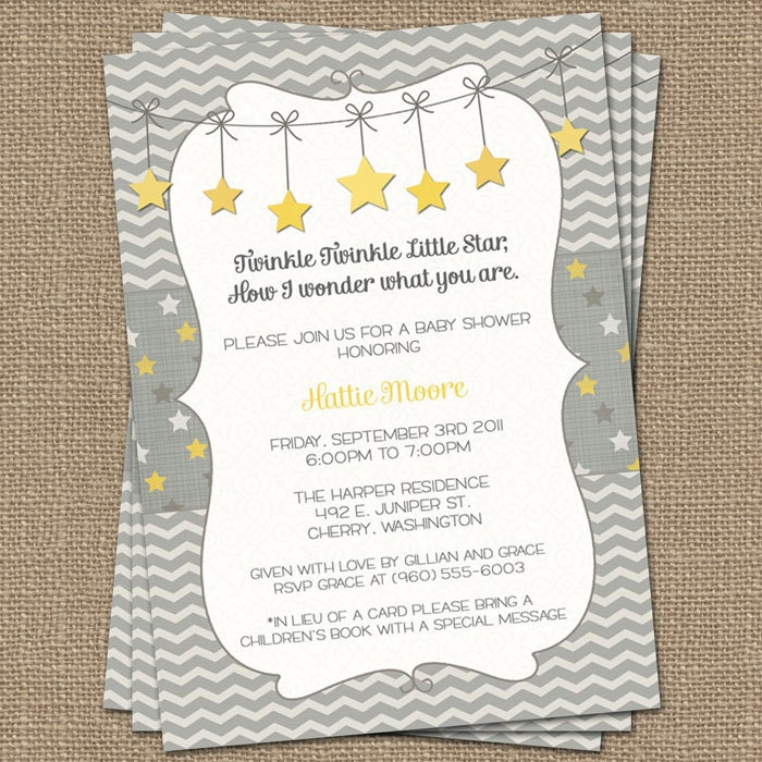 Twinkle Little Star Birthday Invitations for adorable invitation example