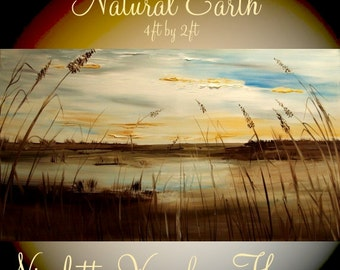 """XL Oil Abstract Original Seascape Florida Marsh  painting  Gallery canvas by Nicolette Vaughan Horner ready to hang 48x24"""""""