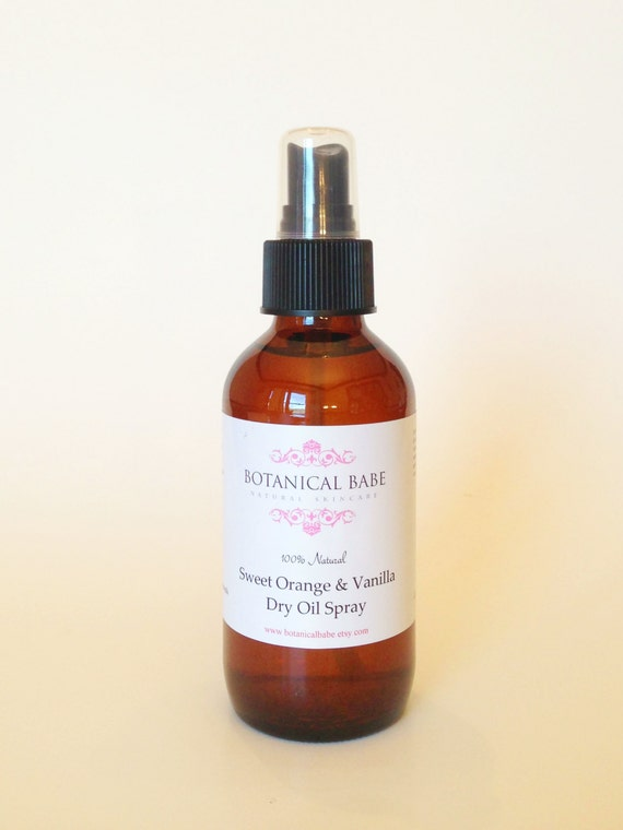 Body Oil - Sweet Orange & Vanilla Dry Oil Spray- Jojoba - Sweet Almond - Avocado - Sunflower