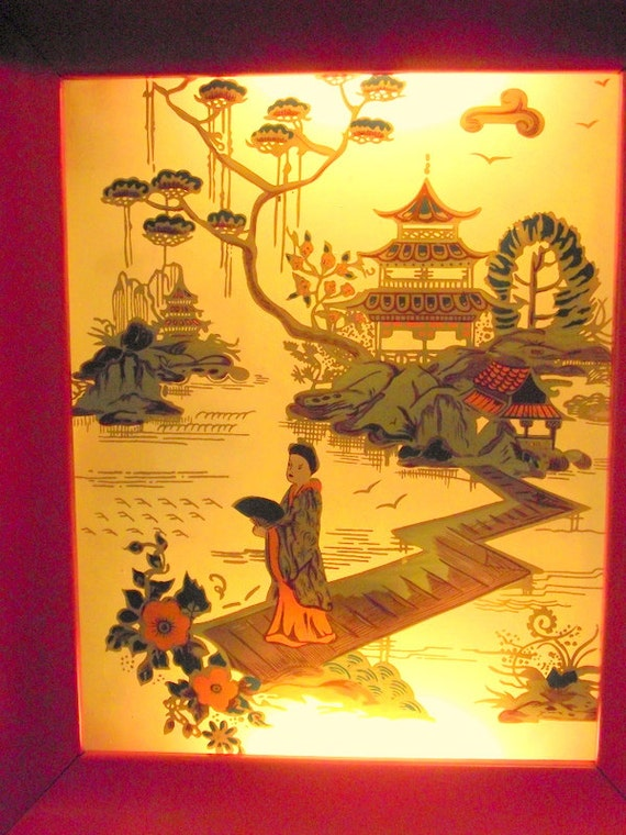 Vintage 60s Oriental Asian Lighted Wall Art By Formed