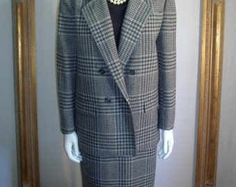 Vintage 1970's Evan-Picone Black/Grey Plaid Wool Suit - Size 10