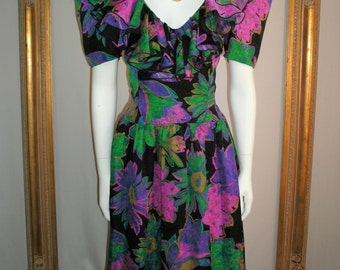 CLEARANCE Vintage 1980's Morton Myles for The Warrens Floral Print Silk Dress - Size 12