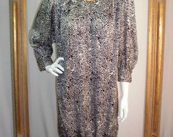 Vintage 1980's Rickie Freeman for Teri Jon Black & White Print Silk Dress - Size 6