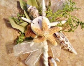 Seashell corsage of various shells, ivory satin ribbons and greenery