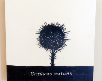 Carduus nutans, Musk Thistle, Nodding Thistle, Relief Print on Wood Panel, encaustic, botanical, hand pulled print, original art