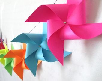 Banner Garland Bunting Paper Pinwheel Banner Pinwheel Garland Birthday Banner Rainbow Banner Polka Dot Banner Pinwheels Large Pinwheels