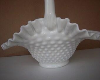 Vintage Fenton Hobnail Milkglass Large Handled Basket w/ Fluted Edge