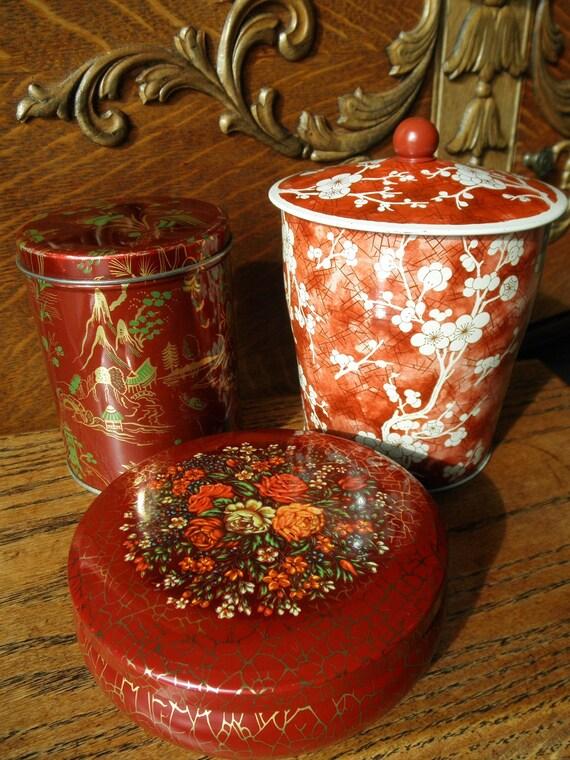 England Tea Tins - Barn Red Trio - English Tea - Vintage Farmhouse Decor - Asian Shabby Cottage Chic