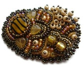 Yellow Gold Brown Bright Brooch embroidered beaded OOAK Bee Sun Flower Leaves