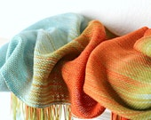Hand woven scarf gradient color blue, red orange gold long scarf with fringe christmas gift