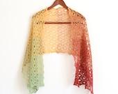 Hand knit shawl wrap scarf gradient cotton green orange red