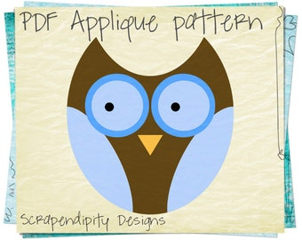 Owl Applique Template - Forest Applique Pattern / Owl Girls Shirt / Forest Baby Quilt / Kids Girls Clothing / Owl Sewing Design AP126-D