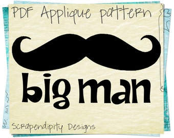Mustache Fabric Applique Template / Kids Boys Clothing Top / Big Man Fathers Day Shirt / Men Clothes Tshirt AP165-D