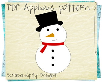 Snowman Applique Pattern - Winter Applique Template / Snowman Shirt Applique / DIY Snowman Iron on Transfer / PDF Winter Baby Quilt AP134-D