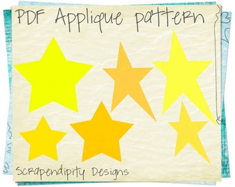 Star Applique Template - Primitive Star Applique Pattern / DIY Iron on Transfer / Star Shirt Pattern / Twinkle Nursery Quilt Pattern AP120-D