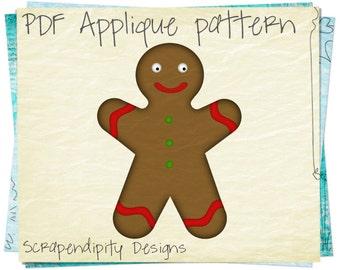 Gingerbread Man Applique Template - Christmas Applique Pattern / Holiday Shirt Pattern / Kid Baby Quilt Pattern / Scrapbook Template AP100-D
