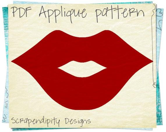 Lips Applique Template - Girls Applique Pattern / Ruby Red Lips Shirt / Girls Boutique Tshirt / Makeup Quilt Pattern / Nursery Decor AP204-D