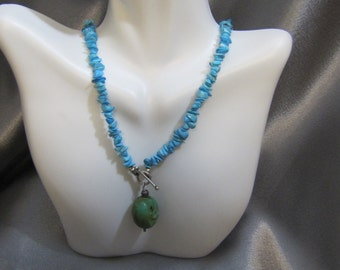 Natural Blue Turquoise Pebble Necklace
