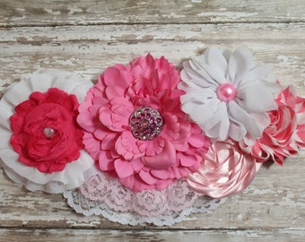 Baby Girl Pink Maternity Sash- Gorgeous Newborn Photo Prop- Vintage Lace- Belly Band- Baby Shower- Mommy to Be